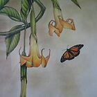 Monarch Butterfly and Yellow Brugmansia by Philip Holley