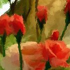 A digital oil painting of Roses in Our Garden - all products by Dennis Melling