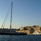 Super Yachts in Grand Harbour, Malta, with  Fort St. Angelo in the background by DeborahDinah