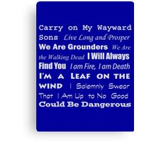 Multi-Fandom Anthem Canvas Print