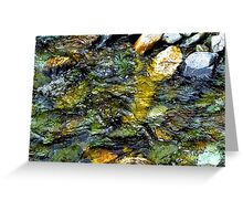 Stream rushes over pebbles Greeting Card