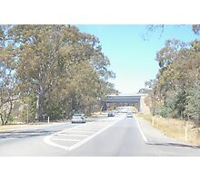 THE OLD CALDER HIGHWAY GOING UNDER THE NEW (UNFINISHED) CALDER FREEWAY, FARADAY END, CENTRAL VICTORIA. Photographic Print