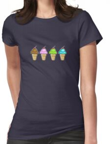 4 ice creams Womens Fitted T-Shirt