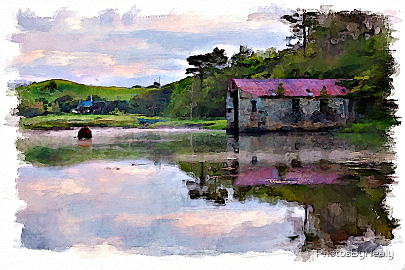 Sunrise on the river watercolour by PhotosByHealy