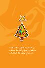 Christmas Card - Groovy Orange Wish Tree by Karin  Taylor