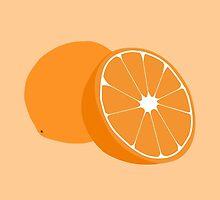 Orange minimalist fruit -- kitchen print by MicrowaveDesign