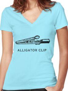 Alligator Clip Women's Fitted V-Neck T-Shirt