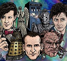 Faces Of Dr. Who by ArtOfOldSchool