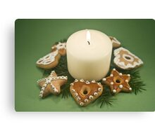 Candle and Christmas Cookies Canvas Print