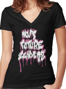 Our Future Leaders Graffiti Pink Women's Fitted V-Neck T-Shirt