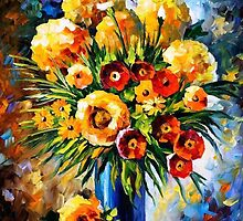 Flowers Of Happiness — Buy Now Link - www.etsy.com/listing/223427252 by Leonid  Afremov