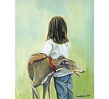 Girl and Greyhound Photographic Print