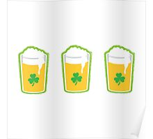 Three irish green shamrock beers pints Poster