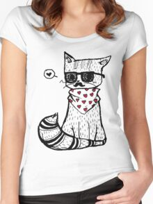 Hipster Cat Women's Fitted Scoop T-Shirt
