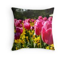 Purple Tulips in Stephens Green Throw Pillow