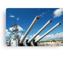 USS Missouri 16-inch guns Canvas Print