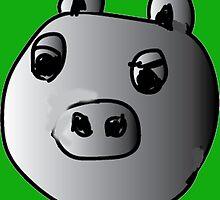 green piggy grey scale by YodaWars