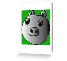 green piggy grey scale Greeting Card