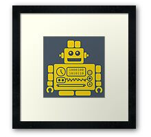 Retro Robot - Navy & Yellow Framed Print