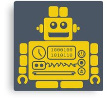 Retro Robot - Navy & Yellow Canvas Print