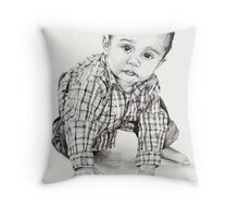 Max with Blue Ball Throw Pillow