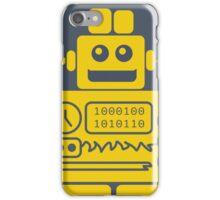 Retro Robot - Navy & Yellow iPhone Case/Skin