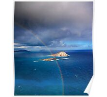 Rainbow over Rabbit and Flat Island Poster