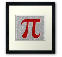 Pi to 10000 - 10k - Digits in Monotype, Red Symbol on White Framed Print