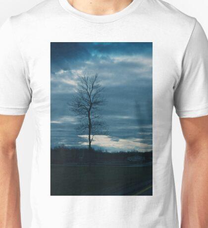 Dark skies and lonely tree Unisex T-Shirt
