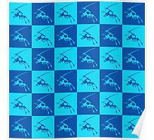 Dinos in Blue Poster