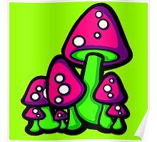 Mushrooms Pink and Purple Poster
