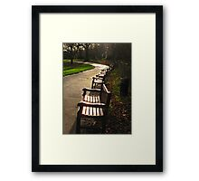 Park benches, wet afternoon Framed Print