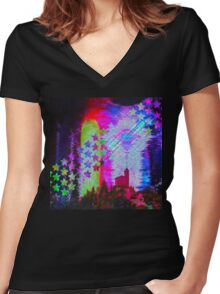 Another Psychedelic Design Women's Fitted V-Neck T-Shirt