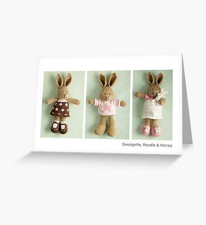 pink & brown bunnies Greeting Card