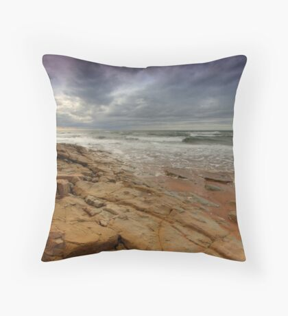 The Rock under a Stormy Sky Throw Pillow