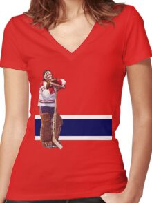Ken Dryden - The Pose (red) Women's Fitted V-Neck T-Shirt