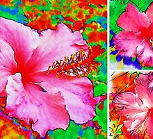 Collage with Hibiscus  by Madalena Lobao-Tello