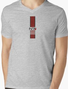 White N7 Stripe Mens V-Neck T-Shirt