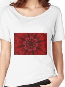 Red Rose Petals Kaleidoscope Women's Relaxed Fit T-Shirt