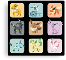 Origami Eeveelutions in Squares Canvas Print