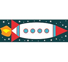 Retro Rocket - Red, White & Blue Photographic Print
