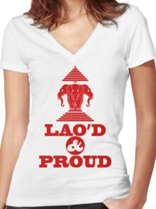 LAO'D & PROUD Women's Fitted V-Neck T-Shirt