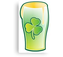 Green shamrock Irish Pint of beer Canvas Print