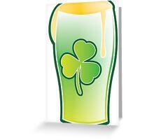 Green shamrock Irish Pint of beer Greeting Card