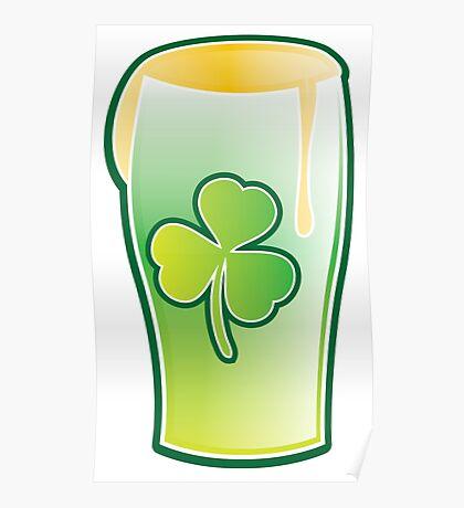 Green shamrock Irish Pint of beer Poster