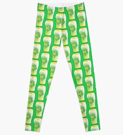 Green shamrock Irish Pint of beer Leggings