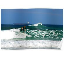 Surf, Waves and Coal Ships - Redhead Beach NSW Poster