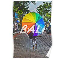 Bali Umbrella Typography Print Poster