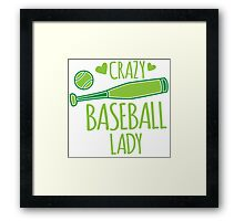 Crazy Baseball Lady in green Framed Print