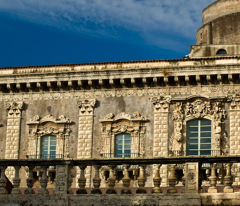 Windows of the Benedettini convent in Catania  by Andrea Rapisarda